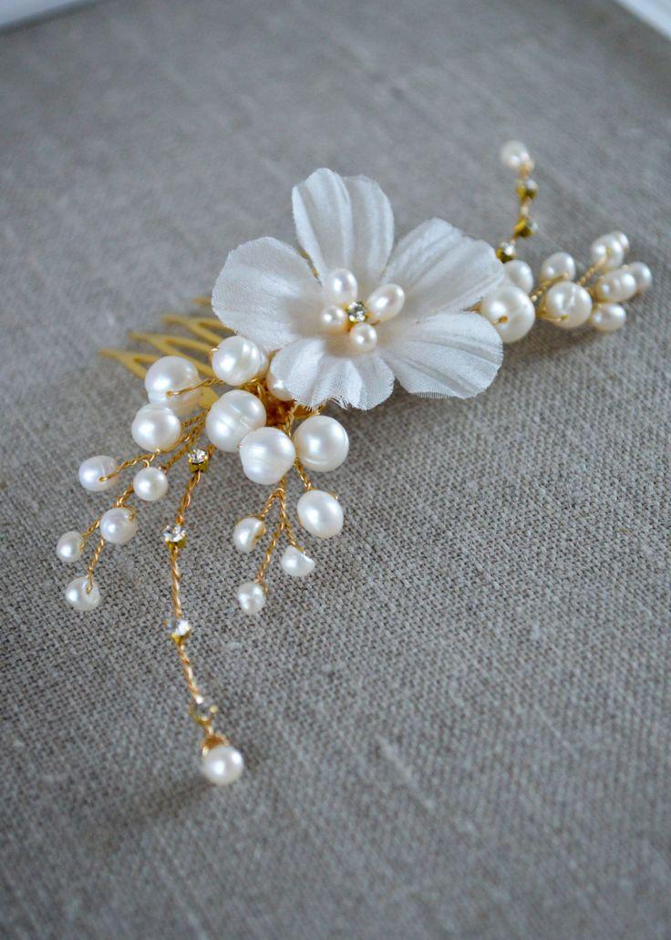 Bridal Hair Comb - Wedding Headpiece -Floral Crystal Hair Comb - Hair flowers - Bridal Hair Accessories - Brudehår Pynt