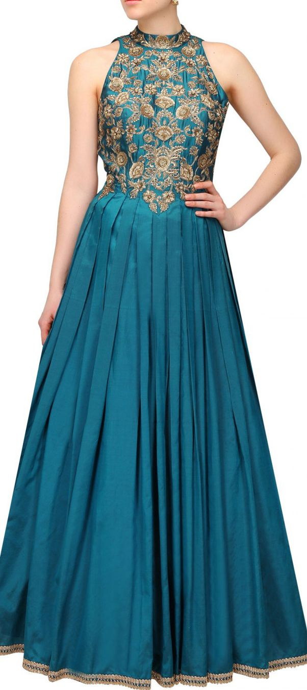 474499: Blue color family stitched gown .