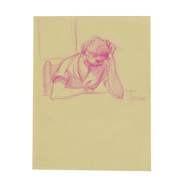 Bob Guccione Ink Sketch on Paper Female Portrait Study