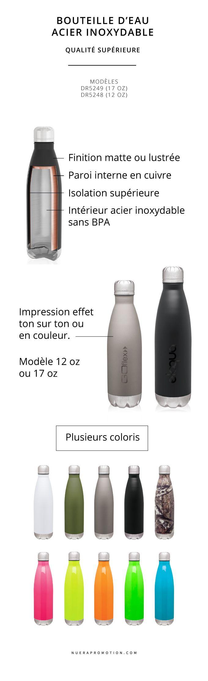 Créez une campagne promotionnelle à votre image en utilisant une bouteille d'eau promotionnelle réutilisable afin d'y promouvoir la santé au travail et renforcer l'importance de l'hydratation auprès de vos employés. La bouteille d'eau réutilisable plus haut de gamme est également une belle idée cadeau d'appréciation à remettre à vos clients.
