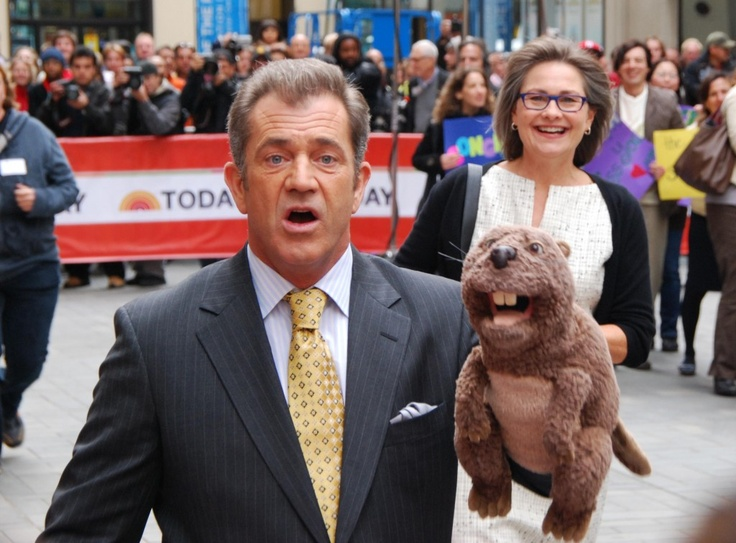 Mel Gibson pictured at The Today Show in New York filming a scene for his upcoming movie, The Beaver