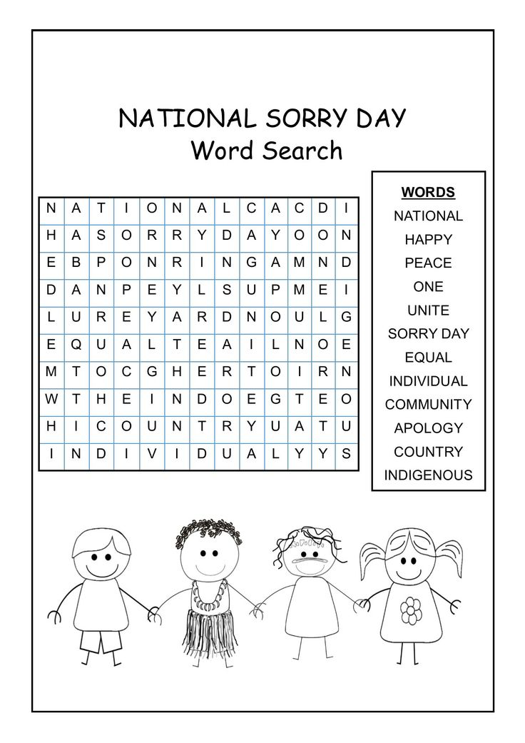 National Sorry Day Word Search - a great resource to introduce students to words associated with National Sorry Day.