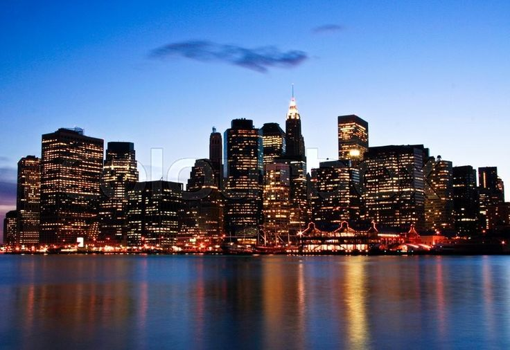 Stock image of 'Image of New York City Skyline as viewed from Brooklyn at dusk'