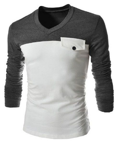 Modish V-Neck Two Color Splicing Fake Pocket Slimming Long Sleeve Polyester  T-Shirt. T Shirts For MenStyle ...