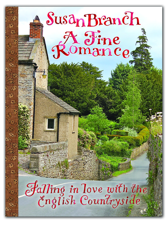 A Fine Romance by Susan Branch, now available for pre-order for $23.95 until 4-15-13.  A travel journal through merry ol' England complete with photo, watercolors, travel tips to take the journey yourself, and recipes!