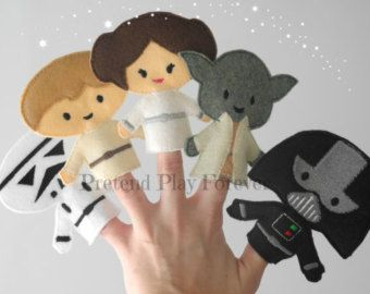 6 Space Wars finger puppets, felt finger puppets, pretend play, quiet book, quiet bag, educational toys, busy bags