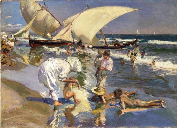 Joaquín Sorolla y Bastida, La playa de Valencia, luz matinal, 1908. Óleos sobre lienzo. The Hispanic Society of America, Nueva York