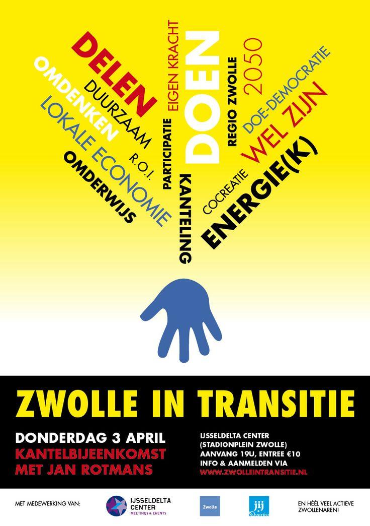 Flyer voor Kantelbijeenkomst door Zwolle in Transitie. Gemaakt door Annemarie Zijl. http://www.annemariezijl.nl/ontwerp/studio.html