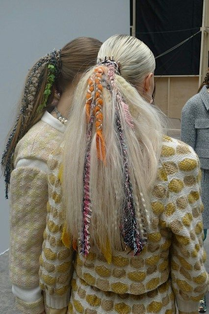 Sophisticated Style| Serafini Amelia| Tweed woven hair by Sam McKnight at Chanel PFW 2014
