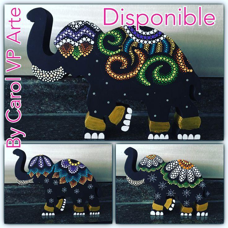 Familia de Elefantes en puntillismo by CarolVP Arte