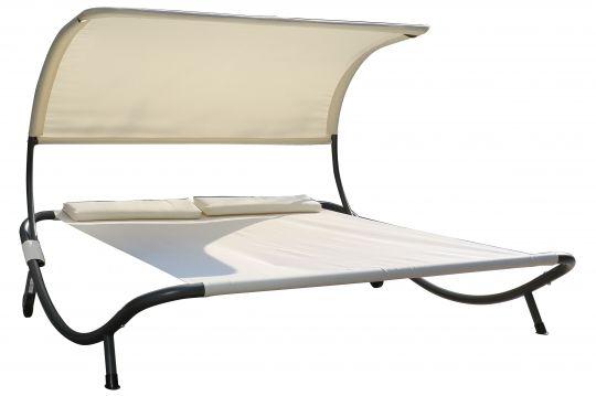 OUTFLEXX Doppelliege, weiß/silber, Polyester/Stahl pulverbeschichtet, 210x200cm, inkl. Nackenkissen, rollbar | Gartenmoebel.de