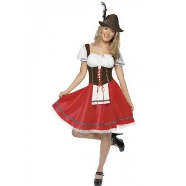 Bavarian Wench Costume, Dress with Attached Apron