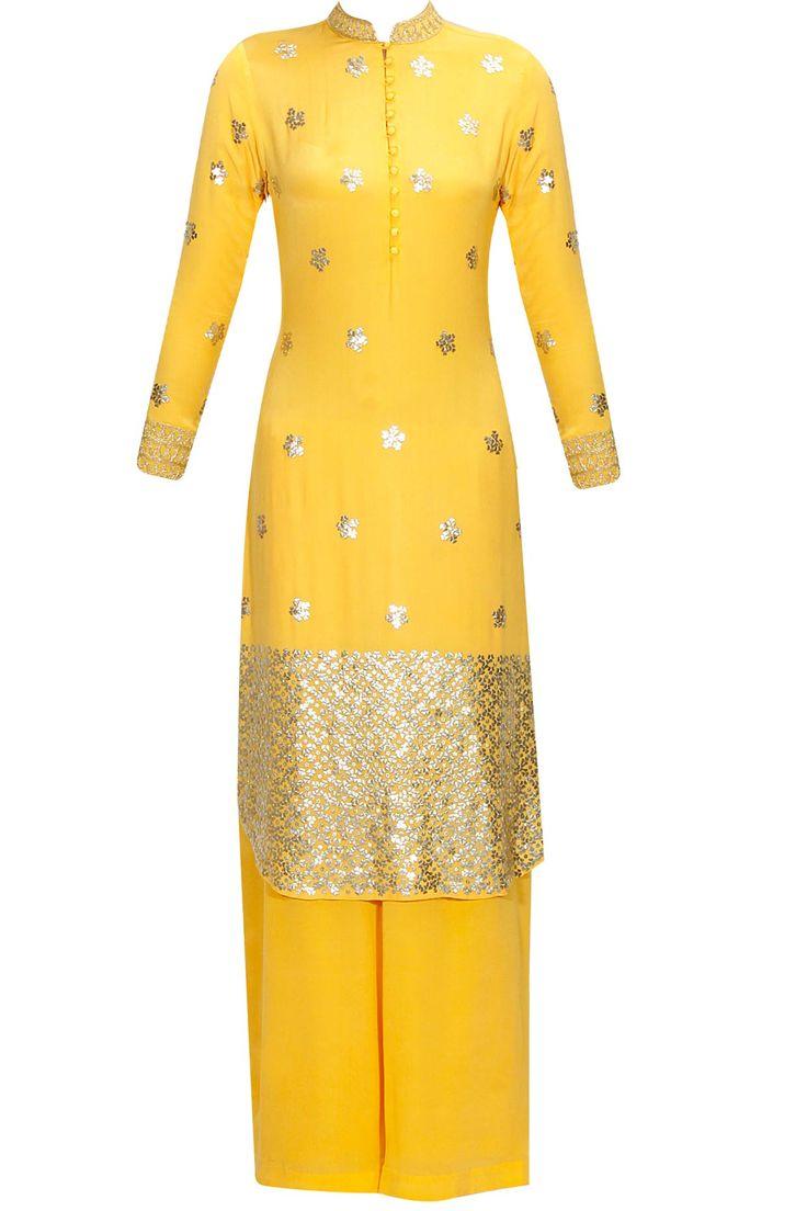 Yellow metallic floral bootis embroidered kurta and palazzos set available only at Pernia's Pop Up Shop.#perniaspopupshop #shopnow #anushkakhanna#partyseason #happyshopping #designer #clothing #festive #weddings