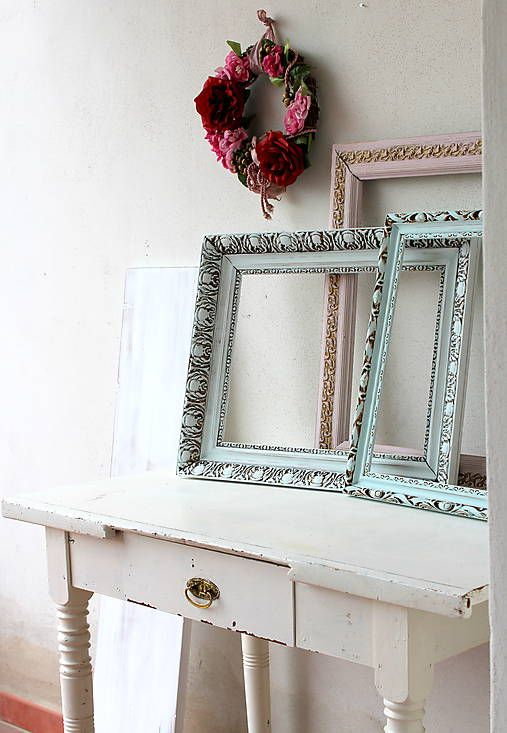 HaM / Sada starožitných vintage rámov VI. - predaná Vintage frames makeover diy with chalk paint - Deko Pain Soft