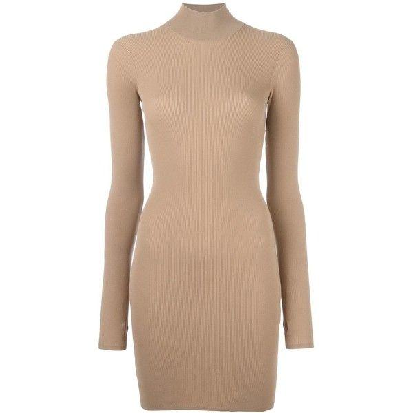 Yeezy - Season 3 high neck mini dress - women - Polyamide - M ($459) ❤ liked on Polyvore featuring dresses, brown, short dresses, short brown dress, brown dress, high neck short dresses and beige short dress