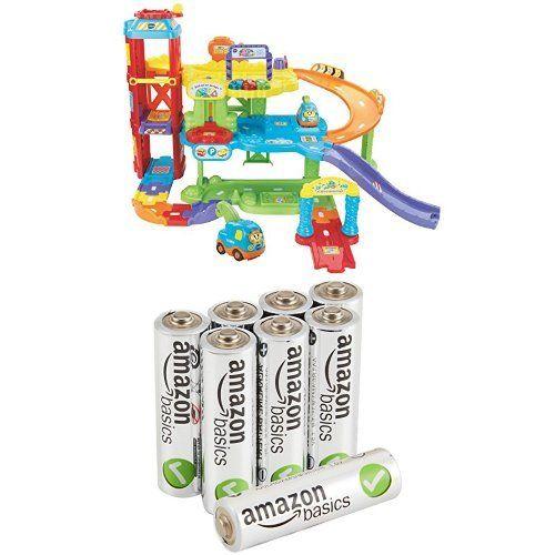 Pack Maxi Garage Educatif Tut Tut Bolide + 8 Piles AmazonBasics AA