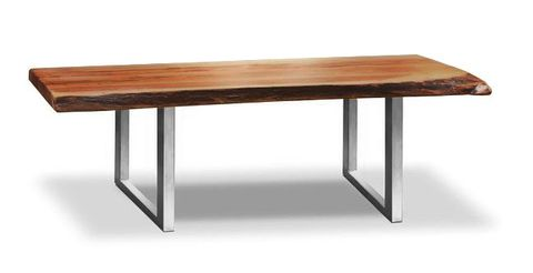 Tom Freeform Dining Table - Reclaimed Wood Table with freeform edge and Stainless legs.  Eco-friendly and User-friendly.