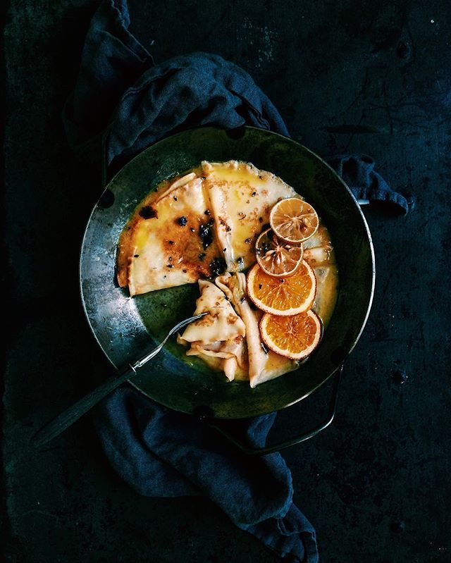 Crepe suzette with lavender and baked citruses.