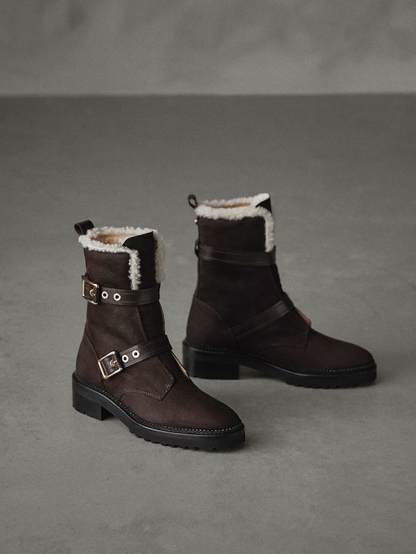 f85ac0b9922 WINTER CAPSULE NUBUCK BUCKLED ANKLE BOOTS - Women - Massimo Dutti