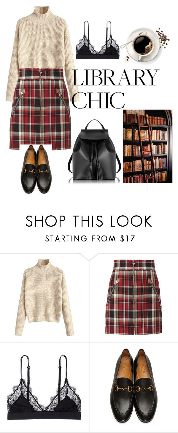 """""""Library Chic Red Plaid Skirt"""" by patricia-alamattila ❤ liked on Polyvore featuring rag & bone, LoveStories, Gucci and Le Parmentier"""