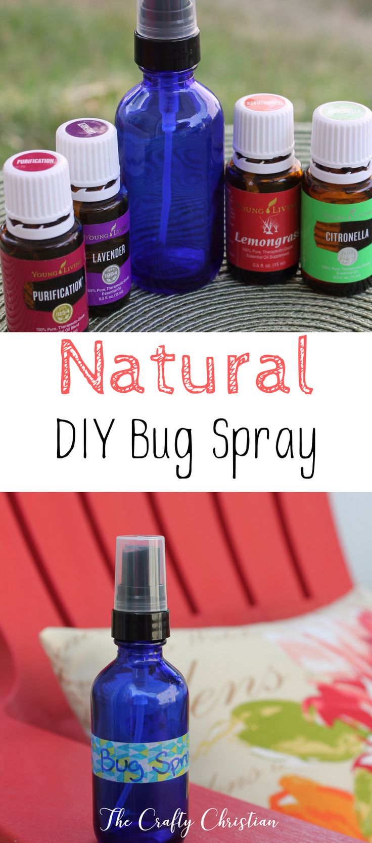 Natural bug spray is perfect for people who are chronically ill, or for kids who can't use DEET for the risk of seizures.  Totally natural, and it works great! via @craft_christian