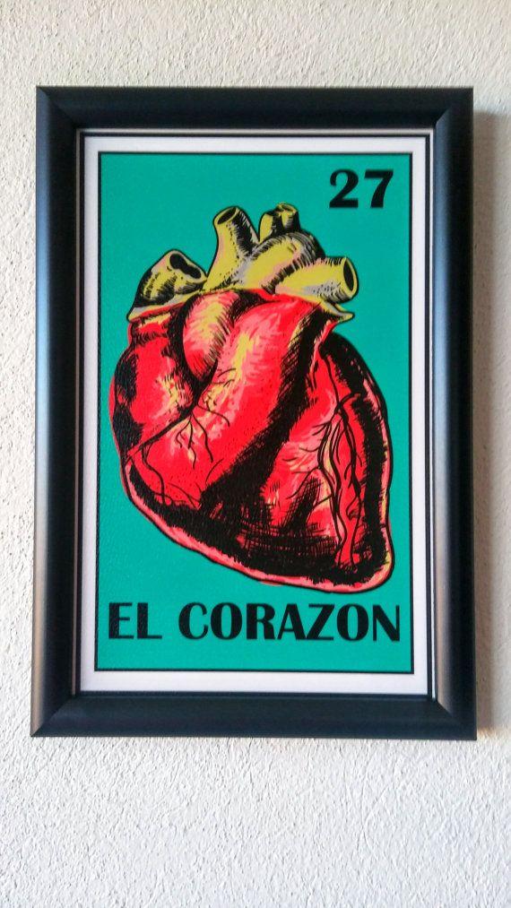 Mexican loteria Framed, El corazon loteria, Frida Kahlo Art, Como la flor, Mexican heart, Selena Quintanilla, Mexican Wall Art, El corazon
