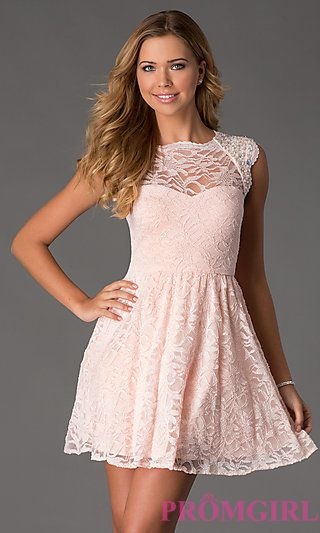 Short Cap Sleeve Lace Dress by Morgan and Company at PromGirl.com #promgirl #bat #mitzvah #party