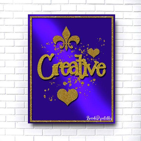 Creative Inspirational Print Purple & Gold Nursery Decor