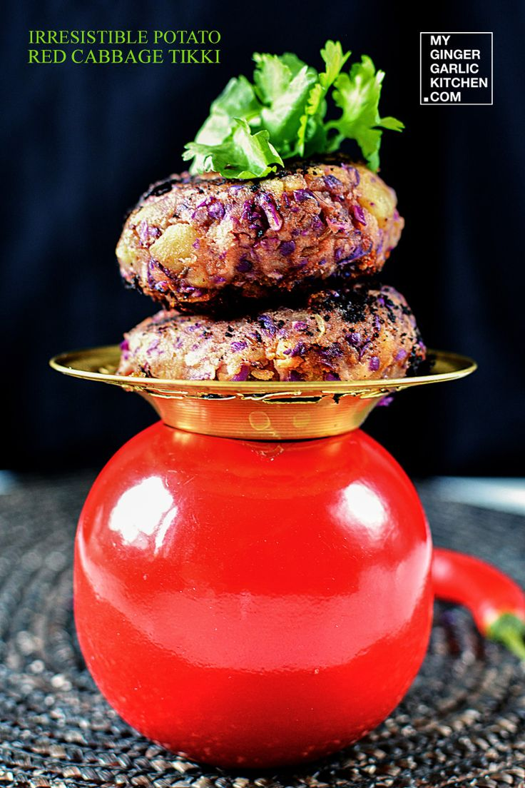 Irresistible Potato Red Cabbage Tikki - [Signature-Recipe] - My Ginger Garlic Kitchen