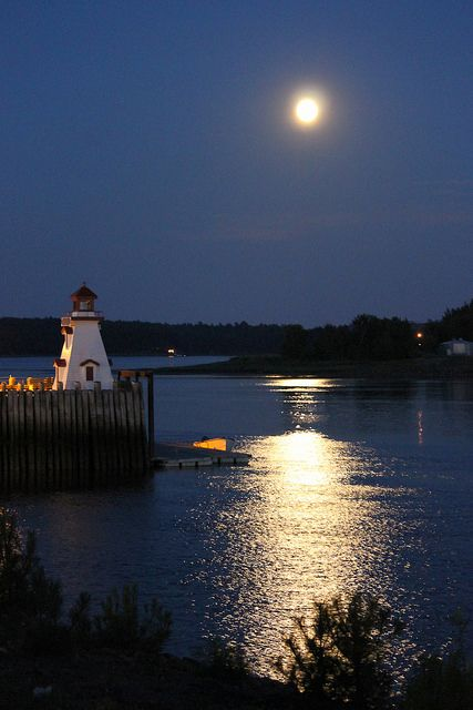 Full Moon On The St. Croix River Lighthouse - St. Stephen, New Brunswick, Canada