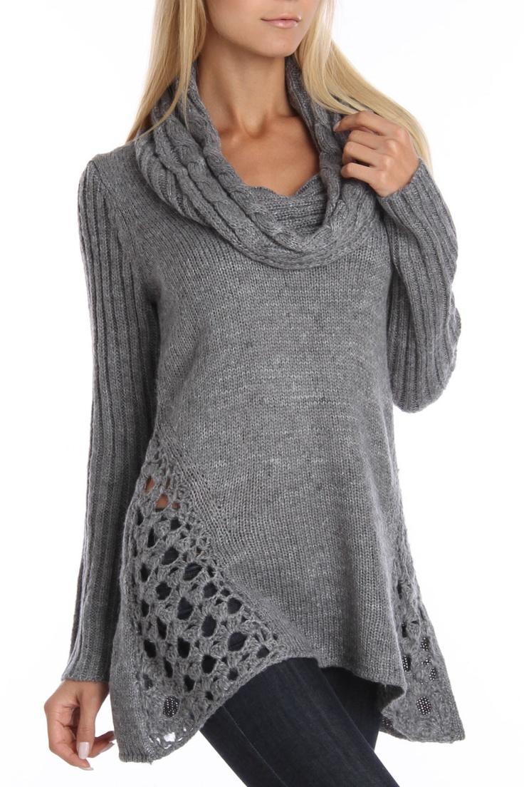Grey Cable Stitch Drape Neck Sweater