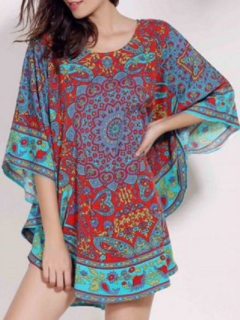 Retro Style Scoop Neck Batwing Sleeve Ethnic Print Loose Women's Dress