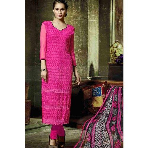 PINK GEORGETTE CHURIDAR SUIT Price - £37.00 #OnlineSuitSalwar #FashionUK #DesignerDressesUK #FashionOnlineUK #ShopkundUK