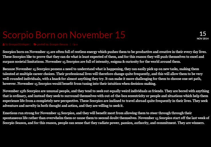 #Scorpio November 15 Personality Traits #zodiac