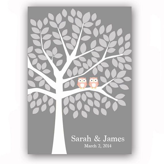 Guestbook Poster Owl Guest Book Alternative for 125 Guests Tree Print Owl Wedding Guestbook Tree Gray and Coral Wedding Poster