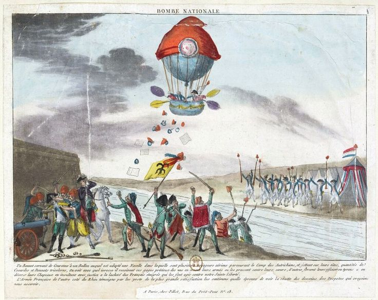 Hot-air balloon adorned with a bonnet de la Liberté flying over an Austrian camp. French Revolution propaganda print, 1792