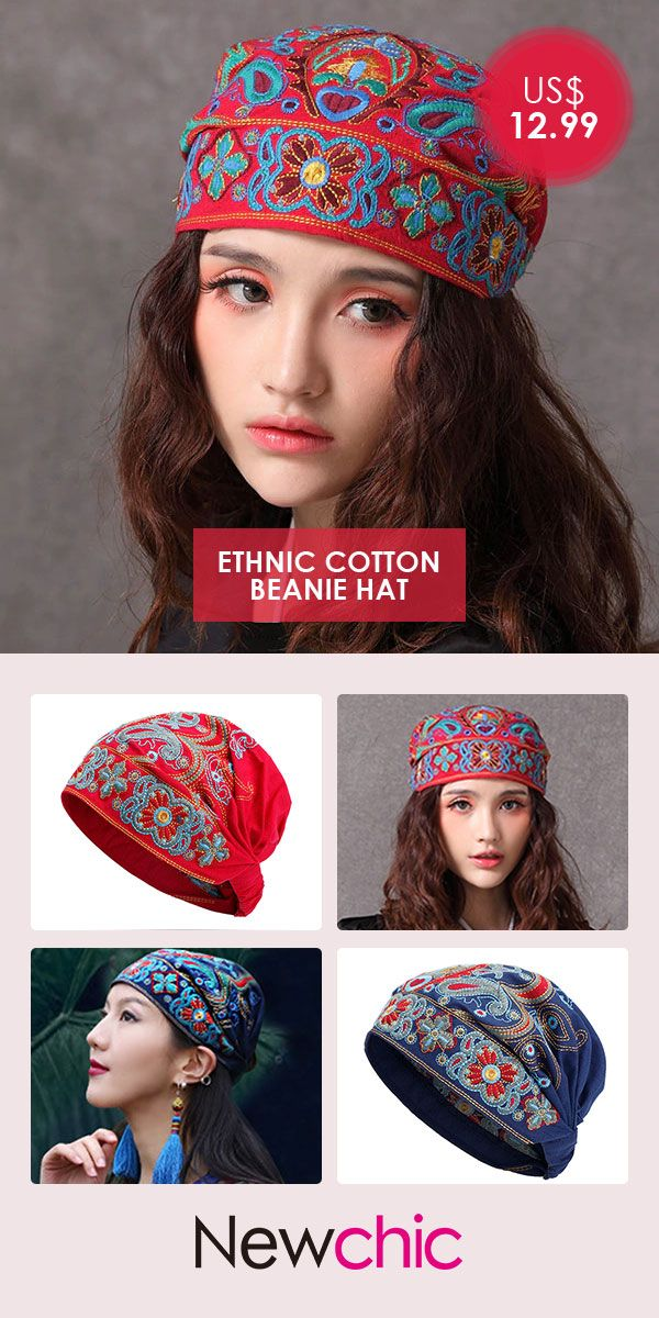 2adea7e8b0409 Women Embroidery Ethnic Cotton Beanie Hat Vintage Good Elastic Breathable  Summer Turban Caps