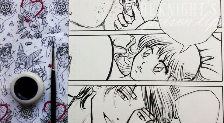Inchiostrazione tavole con pennello e china - Poison Lips manga Inchiostrare tavole è una di quelle cose che cerco di rimandare fino all'ultimo, ma di solito quando inizio vado avanti finché non ho finito.