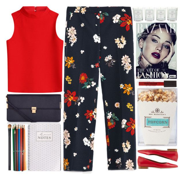 """""""Floral Trousers"""" by doga1 ❤ liked on Polyvore featuring Zara, Courrèges, Malone Souliers, Accessorize, Neiman Marcus, Tocca, NARS Cosmetics, women's clothing, women and female"""