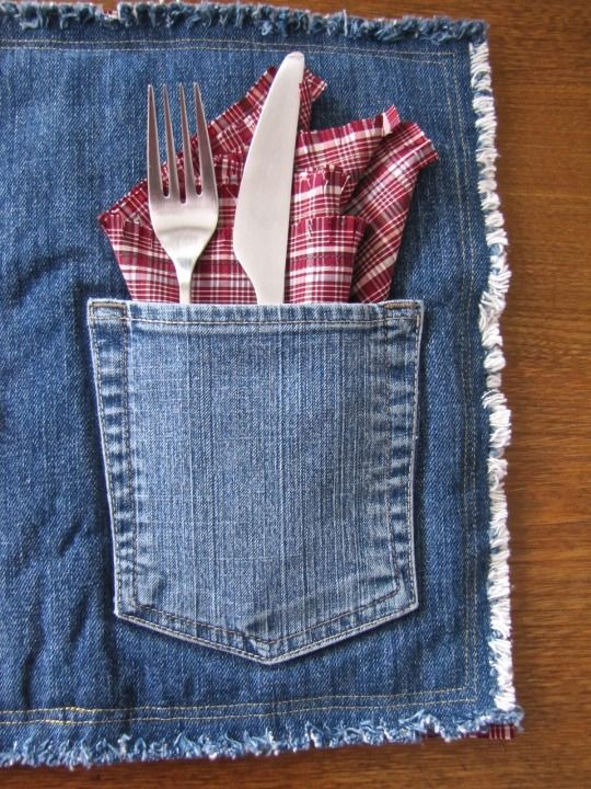 Denim pocket placemats, set of two with matching napkins. Plaid is on the reverse side of the denim. 100% recycled from old jeans and plaid shirts. Quilt batt is also made from 100% recycled polyester. Set $25.