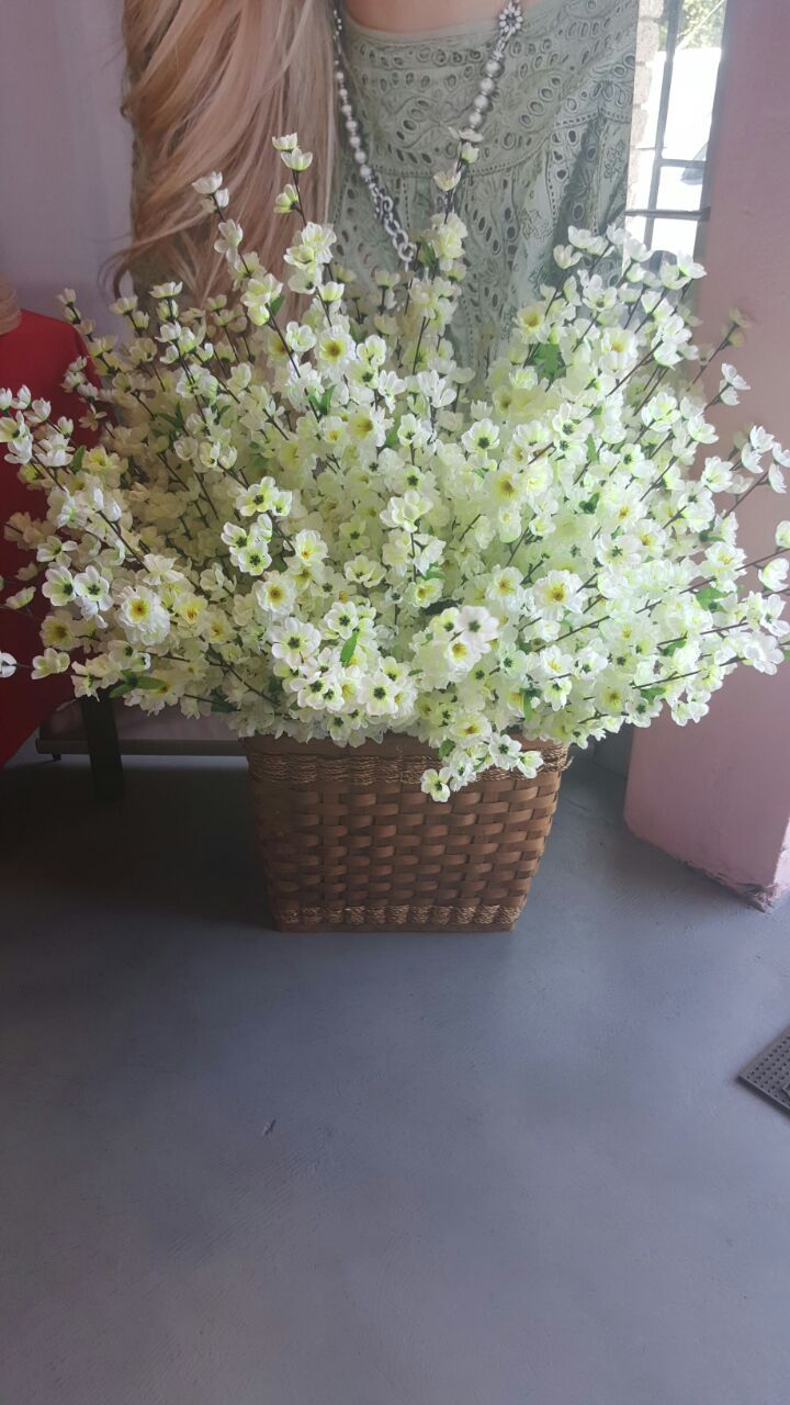 White Cherry Blossom Flowers R7.50 each. (Basket Not Included)