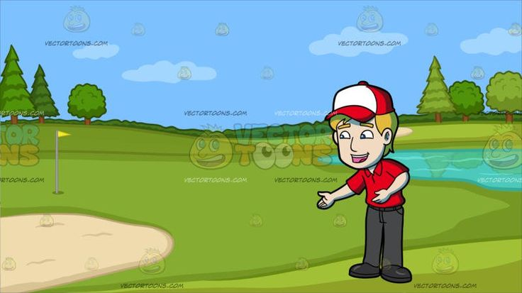 A Fast Food Employee Welcoming Patrons At Golf Course Putting Green :  A man with blonde hair wearing a red and white cap red polo shirt dark gray pants and shoes parts his lips in excitement as he lifts his arms to gesture a friendly ushering in of patrons. Set in a greenery with trees lake and pocket of sand used as a golf course a yellow flag is placed in the whole.