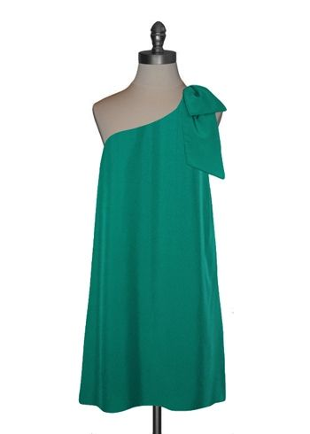 Bow Shoulder Trapeze Dress in Jade Green