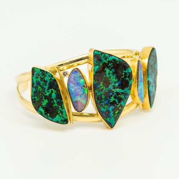 Australian Boulder Opal Bracelet Black Diamond Bracelet