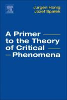 A primer to the theory of critical phenomena / Jurgen Honig, Jozef Spalek #novetatsfiq2018