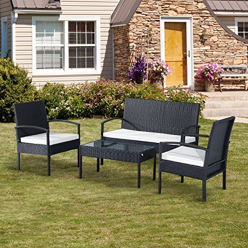outsunny rattan garden furniture 4 pcs sofa set outdoor patio wicker weave chairs table conservatory 4