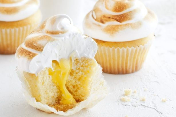 Lemon meringue cupcakes will impress with their oozy curd centre and soft meringue topping.