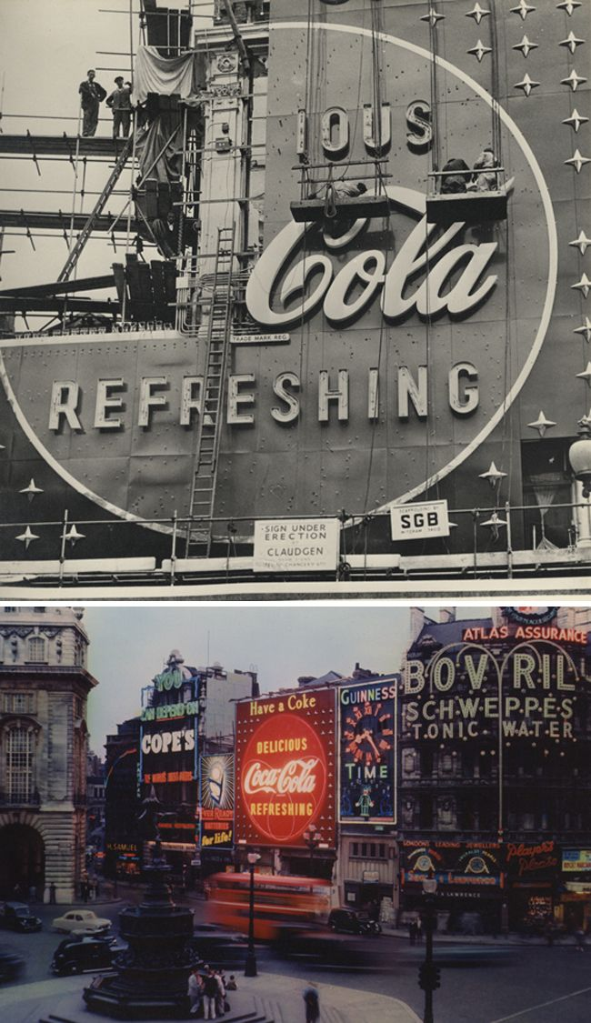 the building of the coca cola neon sign - this would have been a big deal in the day