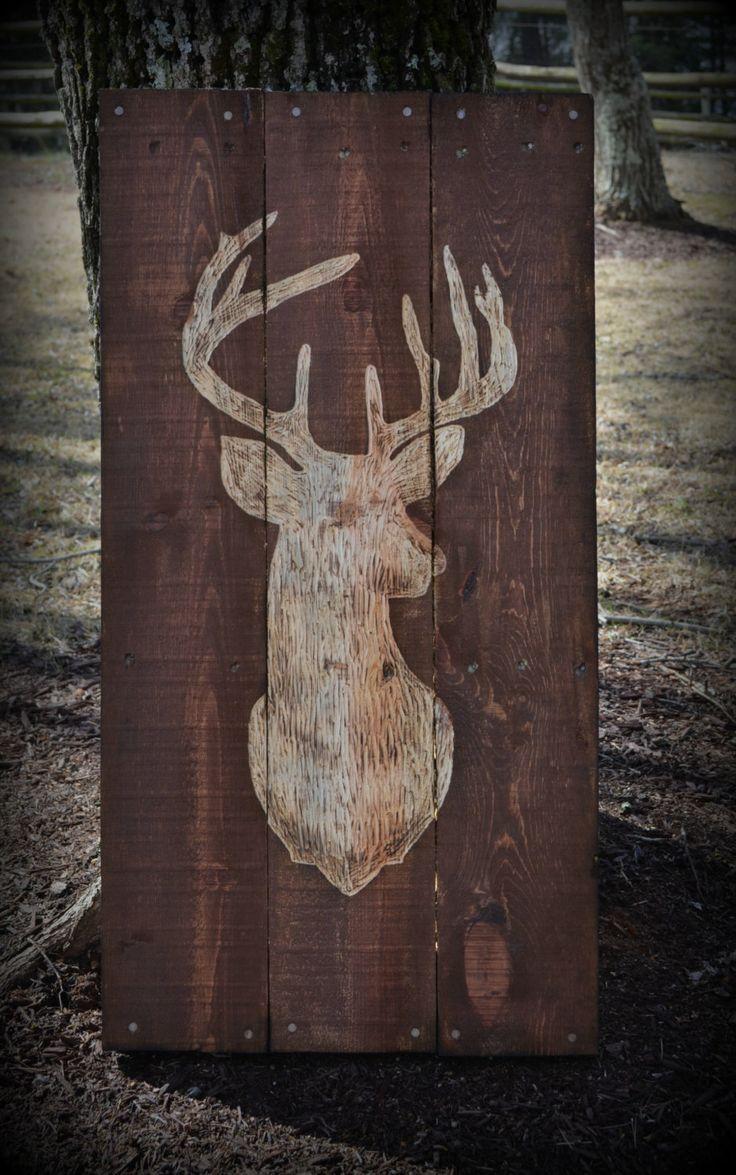 Deer Buck Pallet Wood Art Pallet Sign Decor Buck Hunting by HarveyPalletDesigns on Etsy https://www.etsy.com/listing/204471173/deer-buck-pallet-wood-art-pallet-sign