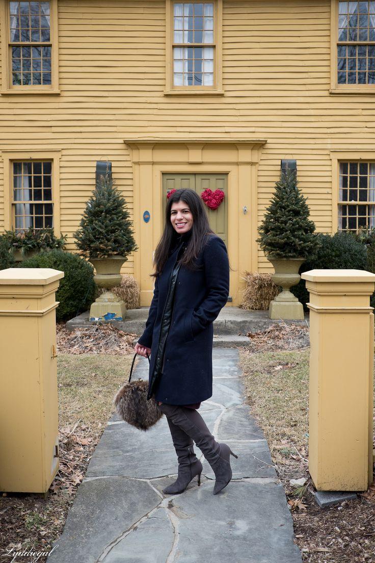 https://flic.kr/p/24ttWRv | burgundy sweater dress, navy coat, over the knee boots-20.jpg